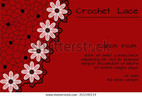 Crochet Lace Daisies Banner On Red Stock Vector Royalty Free 355140119