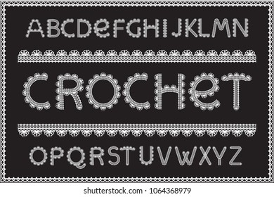 Crochet letters set. Handicraft alphabet, white yarn on black textured fabric, elegant technique of needlework design, thread pattern. Vector embroidery style illustration