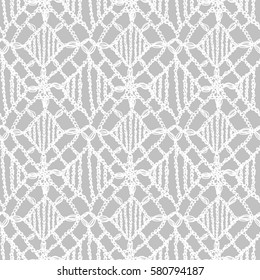 Crochet pattern. Knitting texture. Granny handmade lace. Macrame. Hygge lifestyle. Woman fashion. Boho style seamless background. Vector illustration for fashion or interior fabric design.