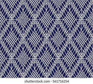 Crochet seamless pattern, knitted or woven macrame in boho style, oriental pattern, bohemian style, knitting, crochet pattern.