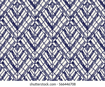 Crochet seamless pattern. Knitted or woven macrame in the bohemian style. Oriental motifs. Knitting mesh