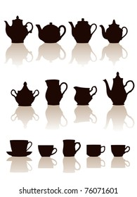 Crockery objects silhouettes set with reflection. Vector illustration.