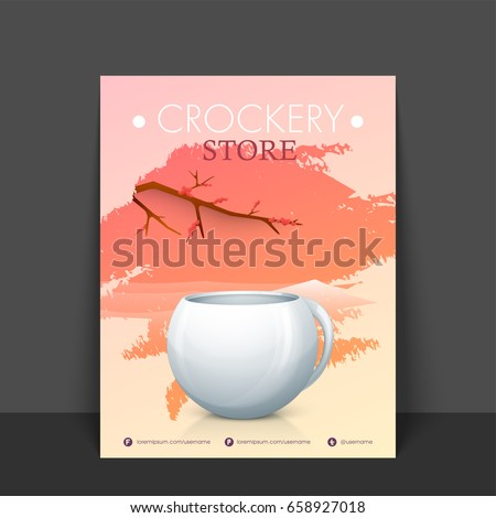 crockery store flyer template banner design stock vector royalty