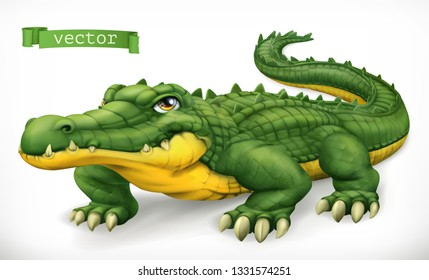 Crocodile, alligator. Funny character. Animal 3d vector icon