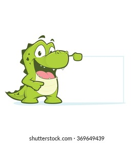 Crocodile or alligator holding blank sign