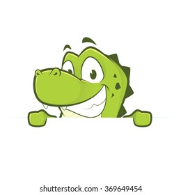 Crocodile or alligator holding and looking over a blank sign board
