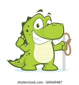 Crocodile or alligator holding rope