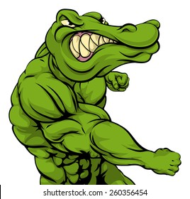 Crocodile or alligator or mascot fighting punching at the viewer with fist clenched
