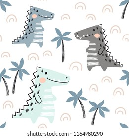 Crocodile baby seamless pattern. Dinosaur scandinavian cute print. Cool african animal illustration for nursery t-shirt, kids apparel, invitation cover, simple child background design Baby shower card