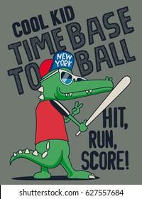 crocodile baseball player vector design for kids tee