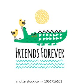 Crocodile and bird illustration vector for print. Happy friends. Can be used for baby t-shirt print, fashion print design, kids wear, baby shower celebration greeting and invitation card.