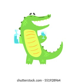 Crocodile WIth Bottle And Glass Having A Drink, Humanized Green Reptile Animal Character Every Day Activity