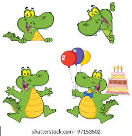 Crocodile Cartoon Characters. Vector Collection.Jpeg version also available in gallery.