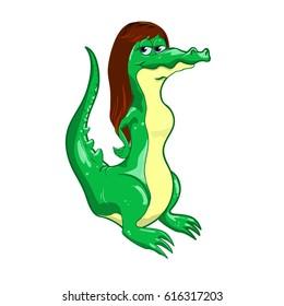 Crocodile cartoon woman