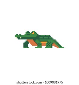 Crocodile character. Pixel art icon. Australian animal. Stickers design. Isolated vector illustration.