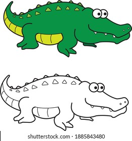 Crocodile croc vector drawing animal vector drawing, cartoon vector, line art and color