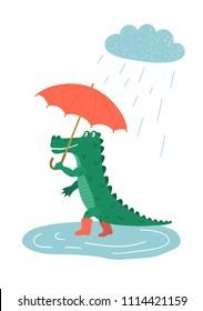 Crocodile. Cute hand drawn crocodile with red umbrella walking in the rain. Children's vector illustration.