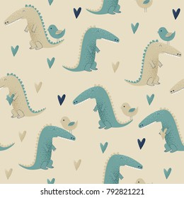 Crocodile design, vector seamless pattern with birds and hearts