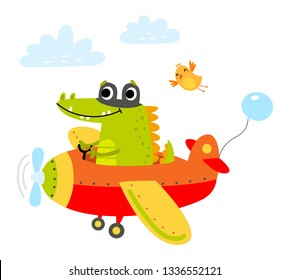 Crocodile flies on a plane