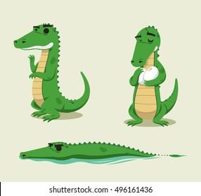 Crocodile fun vector cartoon set