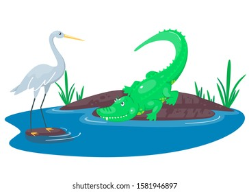 Crocodile hunting on the heron  in the lake. Happy cute cartoon alligator and bird in the blue swamp or pond. Green reptile in the water of a river. Vector illustration for kids.
