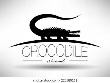 Crocodile Icon with Typographic Design