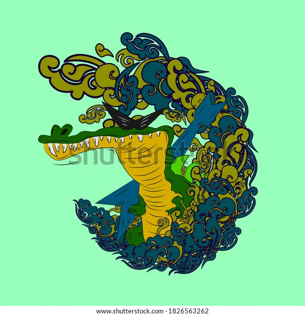crocodile illustration design for sukajan is mean japan traditional cloth or t-shirt with digital hand drawn Embroidery Men T-shirts Summer Casual Short Sleeve Hip Hop T Shirt Streetwear