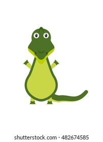 Crocodile illustration as a funny character. Wild and dangerous aquatic reptile with long tail. Small cartoon creature, isolated object in flat design on white background.