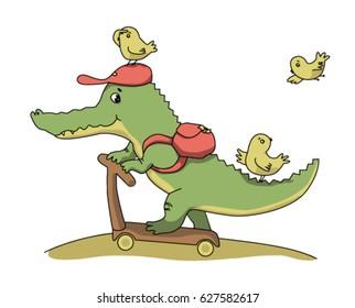 Crocodile illustration for kids. Vector