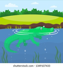 Crocodile in the lake. Happy cute cartoon alligator in the blue swamp or pond. Green reptile is swimming in the water of a river. Vector illustration for kids.