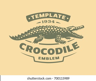 Crocodile logo - vector illustration. Alligator emblem design on light background