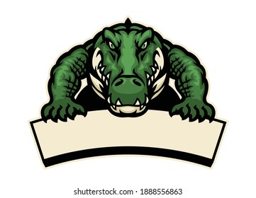 crocodile mascot hold the blank banner for text