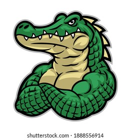 crocodile mascot with huge muscle body