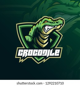 crocodile mascot logo design vector with modern illustration concept style for badge, emblem and tshirt printing. angry aligator illustration for sport team.