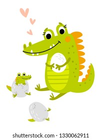 Crocodile mom with children vector illustration