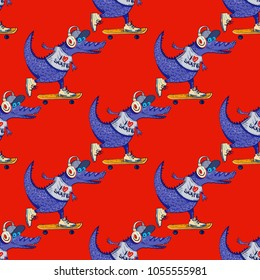 Crocodile on skateboard seamless pattern. Cartoon style pattern design.