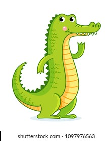 Crocodile on white background in cartoon style. Cute animal on a children's theme.
