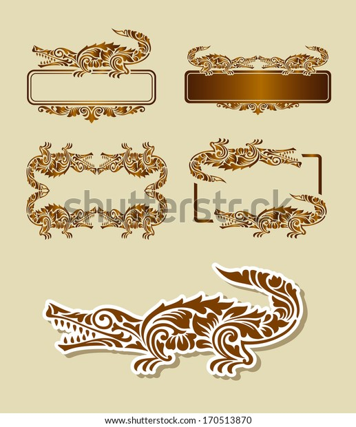 Crocodile Ornament Decoration. Nice, clean, and smooth vector. Good use for symbol, label, sticker, frame, message board, or any design you want. Easy to use, edit, or change color.