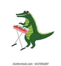 Crocodile Playing Piano, Cute Cartoon Animal Musician Character Playing Musical Instrument Vector Illustration