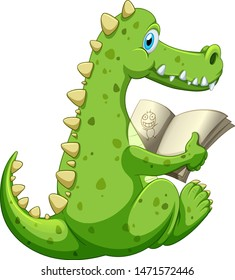 Crocodile reading book on white background illustration