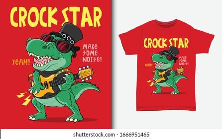 Crocodile rock star illustration with t-shirt design, Hand drawn