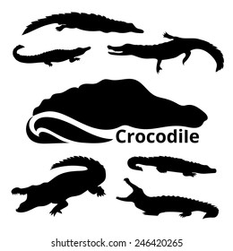 Crocodile set vector. Icons and silhouettes. Alligator head logo. Vector black and white graphic design. Animals outlines. Tattoo art. Isolated reptile. Various poses.