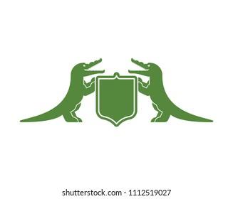 Crocodile and Shield heraldic symbol. Royal Alligator for coat of arms. Vector illustration