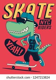 Crocodile skater vector design for t shirt