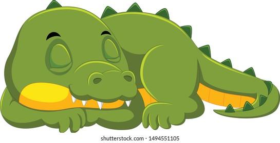Crocodile sleeping on white background