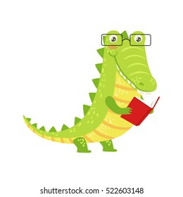 Crocodile Smiling Bookworm Zoo Character Wearing Glasses And Reading A Book Cartoon Illustration Part Of Animals In Library Collection