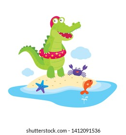 Crocodile with swimming ring on the beach, Summer vacation of alligator.