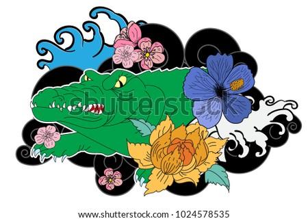 Crocodile Tattoo Flower Japanese Style Hibiscus Stock Vector