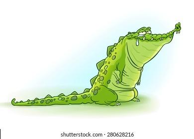 Crocodile tears - Vector illustration of cute and crazy cartoon crocodile