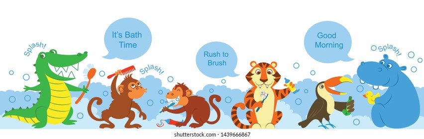 crocodile, tiger, hippopotamus,  monkeys and toucan have a happy bath time in the morning. Cute motivation for children to brush their hair, to bath and clean their teeth in the morning